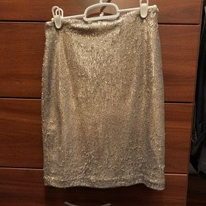 WHBM Gold Sequin Skirt